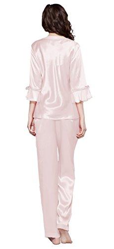 LILYSILK Set pigiama da Donna con V collo di 22 momme Seta Rosa chiaro