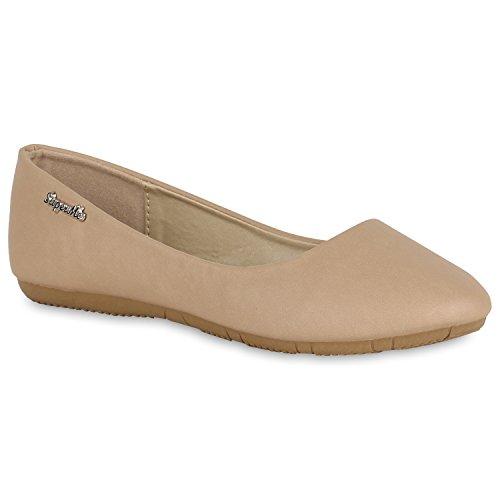 Klassische Damen Ballerinas | Lederoptik Flats | Schuhe Übergrößen | Flache Slipper | Spitze Prints Strass Khaki