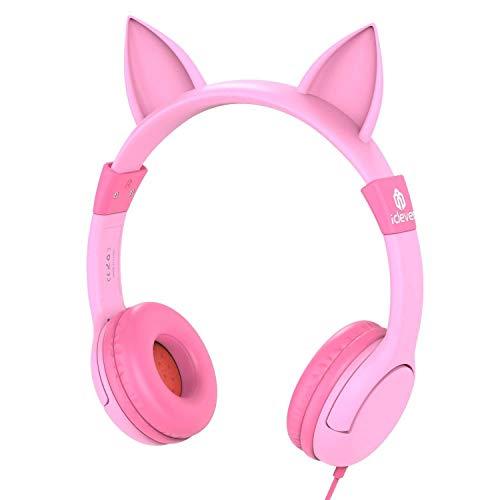 Cuffie per bambini sopra l'orecchio, cuffie con limitazione di volume iclever per bambini, ispirate al gatto per ipod iphone ipad mini ipad air pc tablet mp3, cuffie rosa per regali