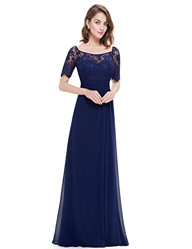 Ever Pretty Robe de Soiree Longue Elegante en Dentelle sans Dos 08793 Bleu Marine