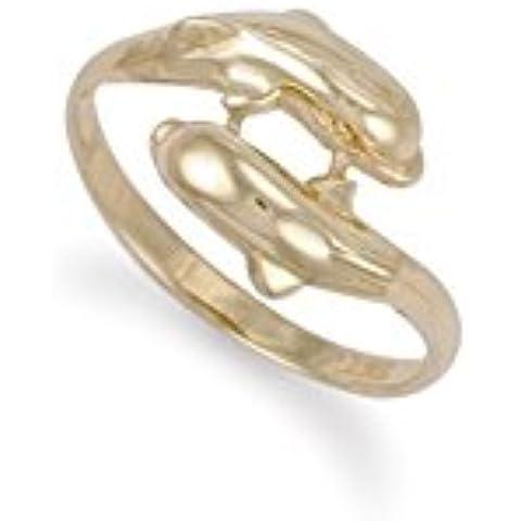 9ct oro giallo doppio delfino anello