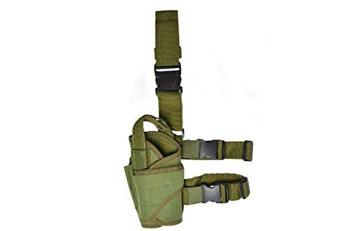 Hochwertiger Pistolenbeinholster, oliv Für das linke Bein mit einer Gürtel- und Beinbefestigung (Pistolenbeinholster Mit Gürtel)