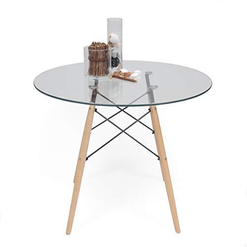 Homely - Mesa de Cocina o Comedor Redonda Tower Vintage Sobre de Cristal de 90 cm y pie Central Tipo Tower