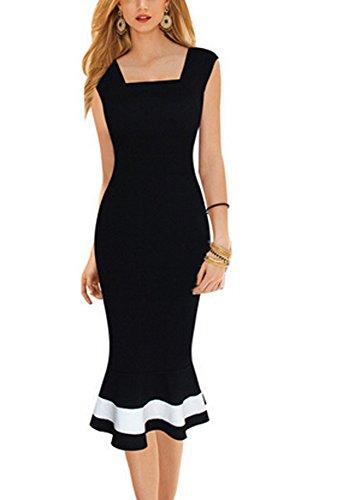 Possec Damen Bleistift Kleid Schwarz schwarz XL