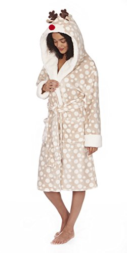 ladies-womens-forever-dreaming-novelty-hooded-dressing-gown-robe-xmas-new-large-taupe