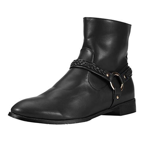 DAIFINEY Herren Mid Hohe Schlupfstiefel Elegant Kurz Stiefel Stiefeletten Mode PU Leder Flache Schuhe Schnalle Ankle Boots Booties(Schwarz/Black,39) Womens Plaza Mid Boot