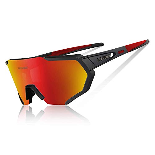 Queshark Gafas Ciclismo Polarizadas para MTB Bicicleta Gafas con 5 Lentes Intercambiables UV400...