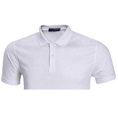 Demarkt Herren Poloshirt Polo T-Shirt Polohemd Kurzarm Polyester Weiß XXXL Weiß x S