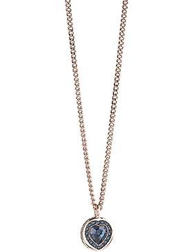 Guess Damen-Kette mit Anhänger Messing Glas Blau/Rosegold 50.5 cm - UBN21536