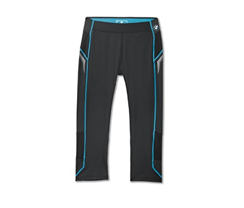 BMW-Athletics-Pantaloni da donna a 3/4, Stretch, Leggings, pantaloni per sport con Zip, colore: nero, misura: XS