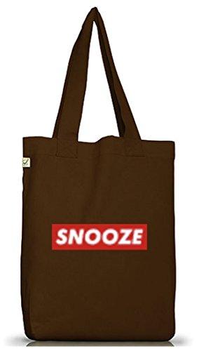 Jutebeutel Tragetasche Snooze für Langschläfer Morgenmuffel Bett Chiller im Graffiti Streetart Style Brown
