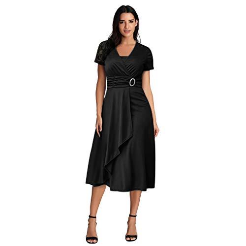 LSAltd Frauen Sommer Pure Color Elegant gekräuselten asymmetrischen Saum Plus Size Abendkleid Abschlussballkleid