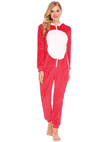 Pagacat Morgenmantel Frauen Onesies Kapuzen Langarm Patchwork Fluff Ball Einteiler Footed Bademantel Pyjama (Footed Tragen Pyjama)
