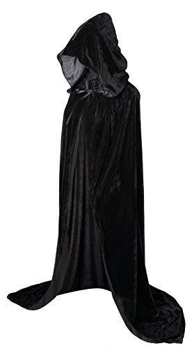Schwarz Samt Umhänge Kostüm Halloween - VGLOOKO Voller Länge Kapuzen Umhang Unisex Erwachsene Samt Cape Cosplay Kostüme für Karneval und Halloween 59