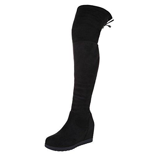Italiana De Design Coxa Botas Sapatos Femininos Clássico Salto Cunha / Cunha Salto Cunha Zipper Preto