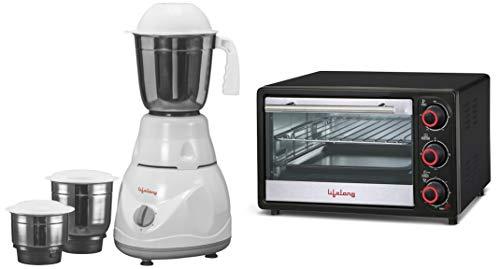 Lifelong Power Pro 500-Watt Mixer Grinder + Lifelong 16L 1200-Watt Oven Toaster Griller, Black