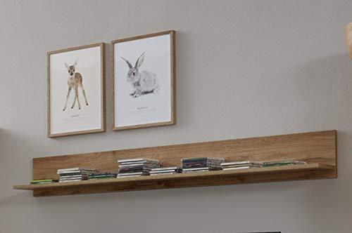 trendteam Wohnzimmer Wandregal Bücherleiste Bücherregal Wandboard Rock, 148 x 19 x 18 cm in Wotan Eiche Dekor mit Ablagefläche -