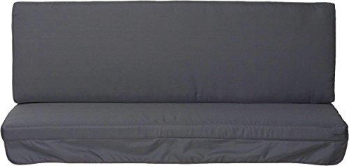 Hollywoodschaukel Comfort Schaukelauflage Kissen 3 Sitzer anthrazit mit wasserabweisendem Polyesterstoff und abnehmbaren Bezug