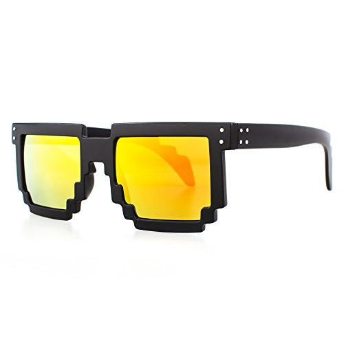 Distressed Pixel Sonnenbrille im Retro Stil 70er 80er (schwarz-gold/rot-verspiegelt)