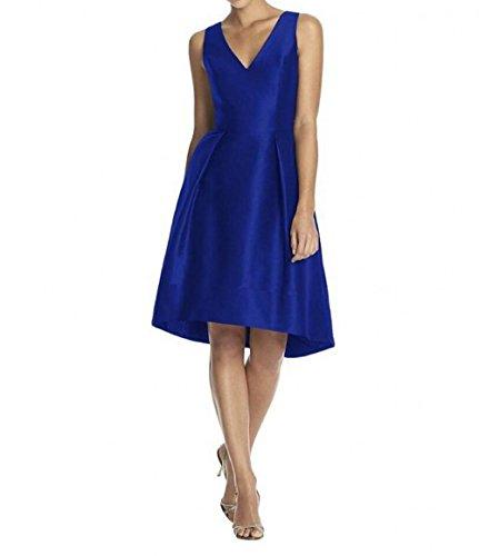Charmant Damen Gruen Einfach Damen V-ausschnitt Satin Cocktailkleider Brautjungfernkleider Partykleider knielang Royal Blau
