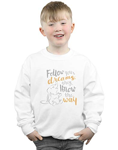 (Disney Jungen Dumbo Follow Your Dream Sweatshirt Weiß 5-6 years)