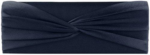 Shirley Clutch / Evening Bag, 25x8,5x5 Cm (lxhxp) Blu Scuro Con Catena Portante