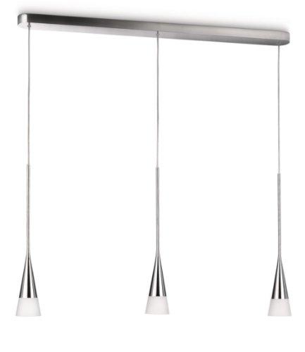 Philips innery lampadario moderno, design camera da letto, cucina, salotto, 3 luci, cono e barra cromo, alluminio e vetro, 3 lampadine da 12 w incluse