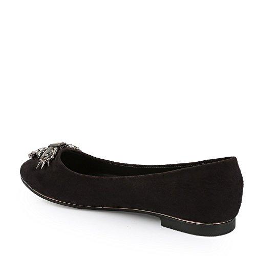 Ideal Shoes - Ballerines effet daim décorées de strass et piques Ella Noir