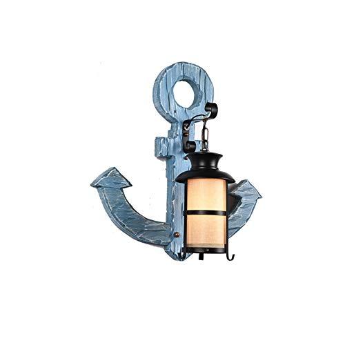 LLLingc Wandlampe Retro American Loft antike Persönlichkeit kreative Diffuse Cafe Anker Wandleuchte Dekorative Nachtlampe (Farbe : Blau, Größe : 51 * 55cm)