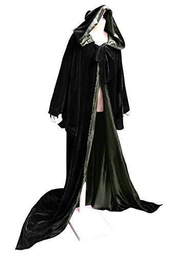 (ShineGown SAMT Umhang Mittelalterliche Kap mit Kapuze Fuer Devil Witch Wizard Magician Halloween Weihnachten Cosplay Kostum Verkleiden)