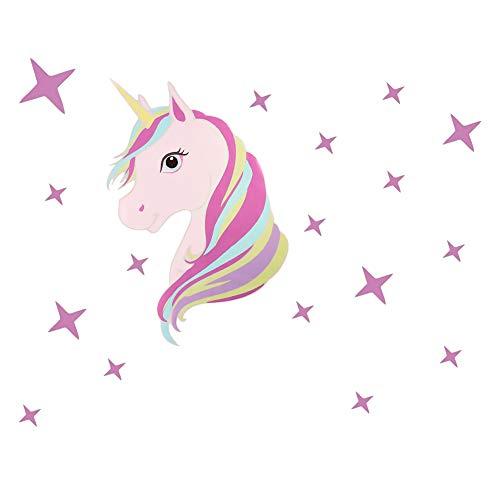 falllea 1 Paquete de Unicornio y Estrellas Pegatinas de Pared, Unicornio Etiqueta de Vinilo Decoración Infantil para Niña Mujer