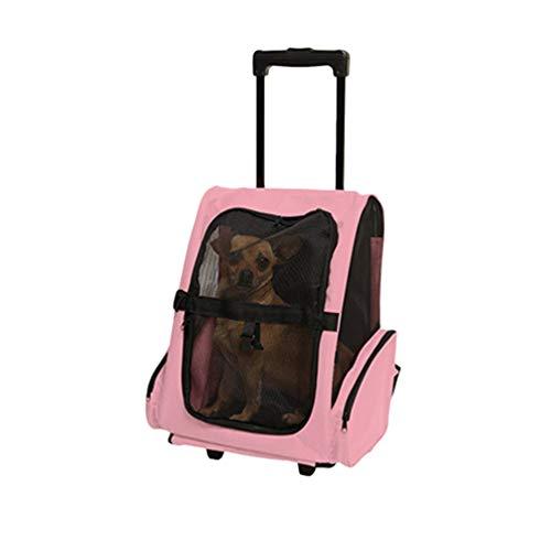 YiiJee Pet Travel Rucksack Tasche Cat Puppy Dog Carrier Trolley und Teleskopgriff Tragbare Haustierbeutel (Pink, 20) -