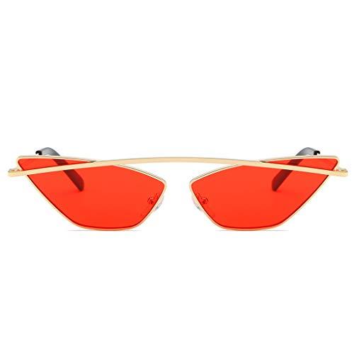 Lazzboy Damenmode Cat Eye Shade Sonnenbrille Integrierte Streifen Vintage Brille Damen Triangle Brillen Katzenauge Retro Jahrgang Sonnenbrillen(Rot)