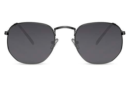 Cheapass Sonnenbrille Schwarz Hexagonal UV-400 Groß Rund Damen Herren