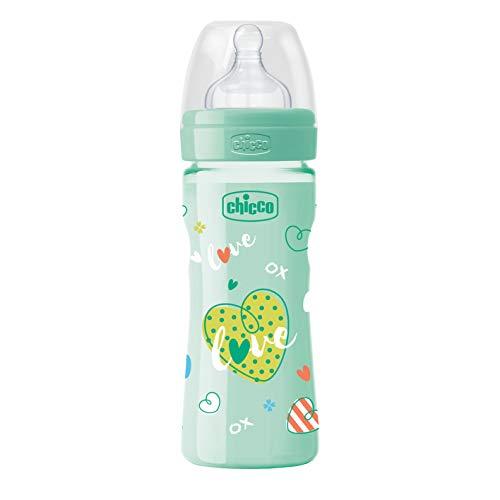 Chicco 00020623330000 benessere colorato uni biberon, silicone, flusso medio, 250 ml, verde