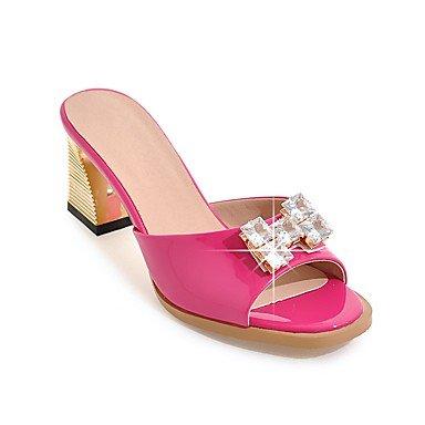 LvYuan Da donna-Sandali-Matrimonio Formale Serata e festa-Club Shoes-Quadrato-Vernice-Nero Rosso Bianco Grigio Pesca gray