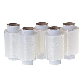 Juego de 5 mini rollos de lámina elástica, 10 cm, 0,25 kg (transparente)