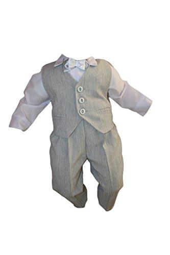 Taufanzug, Festanzug, Jungenanzug, 5tlg, Grau-Weiß, Baby Junge Kinder Taufe Anzug Hochzeit Anzüge K10 Größe 74