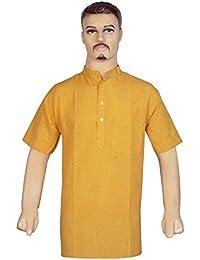 BIBO Handloom Khadi Cotton Traditional Men's Short Modi Kurta 3/4 Sleeves Regular Fit and Round Collar