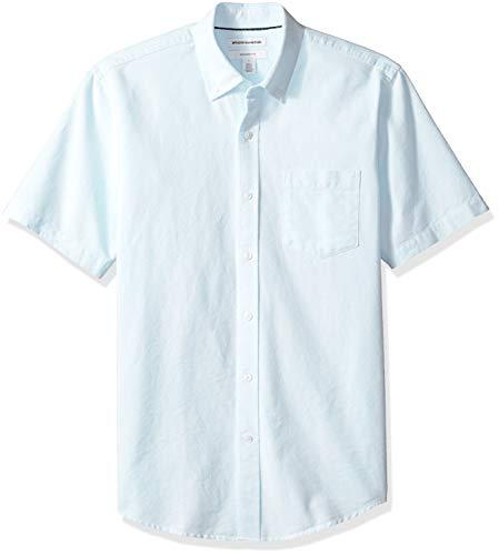 Amazon Essentials Slim-Fit Short-Sleeve Stripe Pocket Oxford Shirt Freizeithemd, Blau (Aqua AQU), US L (EU L) -
