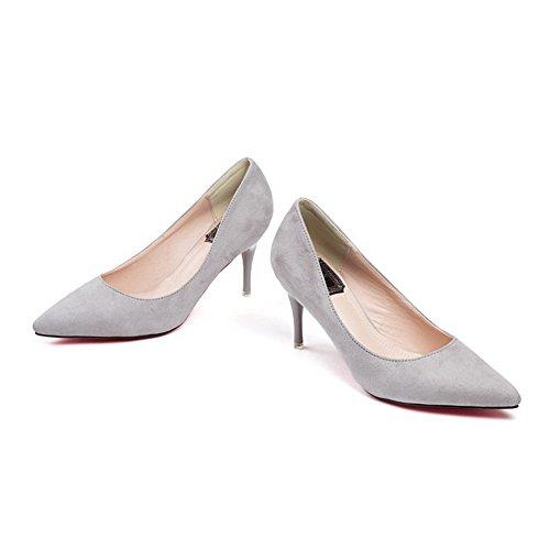 AalarDom Femme Stylet Couleur Unie Pointu Suédé Chaussures Légeres Gris-Suédé