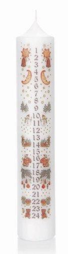 Weihnachtskerzen Adventskalenderkerze in weiß 50/265mm, Kalenderkerze Advent