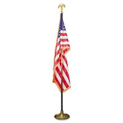 Indoor 3 ft x 5 ft U.S. Flag, 8 ft Oak Staff, 2 Gold Fringe, 7 Goldtone Eagle, Sold as 1 Each by Advantus -