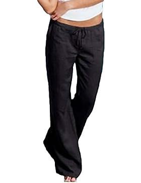 Highdas Mujer Flare Pantalones - Verano Casuales Palazzo Elasticos Pantalones Elegantes Bootcut Pantalones Pantalones...