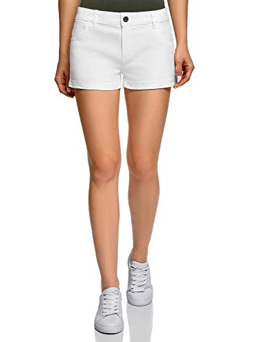 Oodji ultra donna pantaloncini in cotone, bianco, it 42 / eu 38 / s