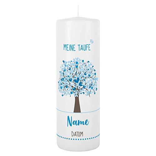 Striefchen® Taufkerze mit Lebensbaum und Aufdruck des Namen und Datum sowie Taufspruch Weiß - Blau