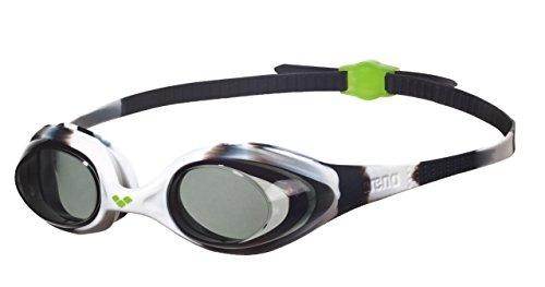 arena Kinder Unisex Training Wettkampf Schwimmbrille Spider Junior (UV-Schutz, Anti-Fog, Harte Gläser), schwarz (Black White-Clear), One Size