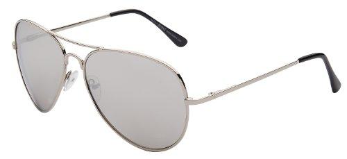 Pilotenbrille Fliegerbrille Pornobrille Sonnenbrille Art. 4027-1 Rahmen: silber, Gläser: silber verspiegelt, mit Federscharnieren!