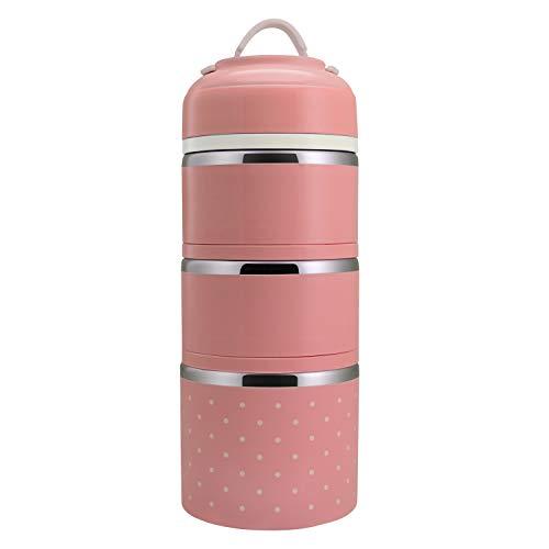 Isolierung THERMO-Lunchbox Edelstahl Lebensmittel Container tragbar Bento Box mit Griff 3Schichten rose