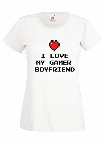 Settantallora T-shirt Maglietta donna J2347 I Love My Gamer Boyfriend Bianco
